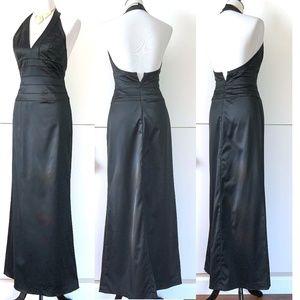 Cache Dresses - Cache Black Satin Halter Evening Dress Sz 4